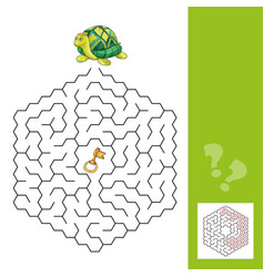 turtle and the gold key - labyrinth game for vector image