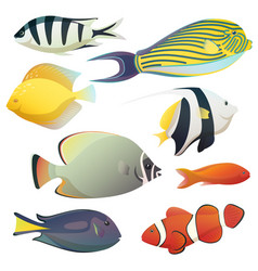 underwater golden fishes and small sea fauna vector image