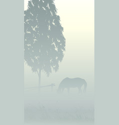 Vertical of tree and horse in fog vector