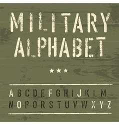 vintage military alphabet vector image