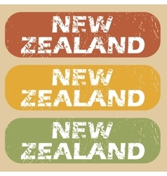 Vintage New Zealand stamp set vector image