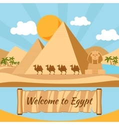 Welcome to Egypt Pyramids and sphinx vector
