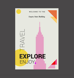 Welcome to the empire state building ny usa vector