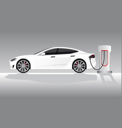 White electric car with charging station vector