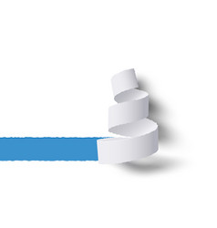 white paper roll ripped with shadows blue copy vector image
