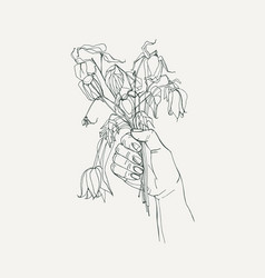 Withered flowers in her hand gone feeling concept vector