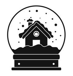 wood house glass ball icon simple style vector image