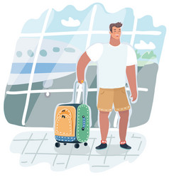Young man traveling with travel bag vector