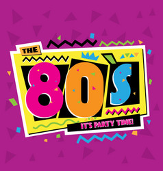 party time the 80 s style label vector image
