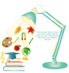 design template with school items text desk lamp vector image vector image