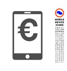 euro mobile balance icon with set vector image