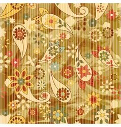 floral wallpaper on striped background vector image vector image