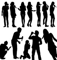 singers silhouette set vector image