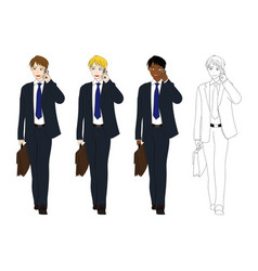 business man talking phone and holding vector image