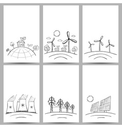 power station energy cards doodles vector image