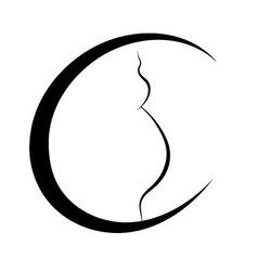 Pregnant belly logo vector image