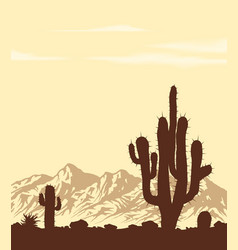 sunset in desert with cactuses vector image vector image