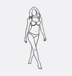 woman in bikini sketch vector image vector image