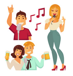 people entertaining in karaoke bar isolated on vector image vector image
