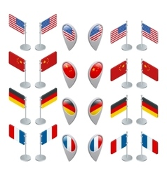 Set flags and GPS location symbol USA China vector image vector image