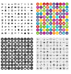 100 car icons set variant vector