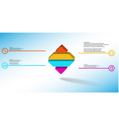 3d infographic template with embossed rhomb vector image