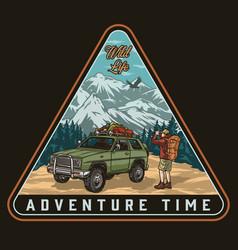 Adventure awaits colorful vintage print vector