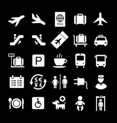 airport white icons on black background vector image