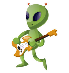 alien with guitar on white background vector image