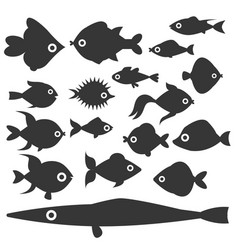 Aquarium ocean fish silhouette underwater bowl vector