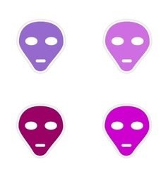 Assembly realistic sticker design on paper alien vector