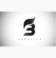 B letter wings logo design with black bird fly vector