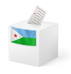 Ballot box with voting paper Djibouti vector