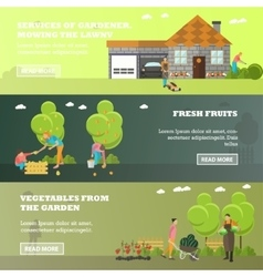 Banners of garden activities flat design vector