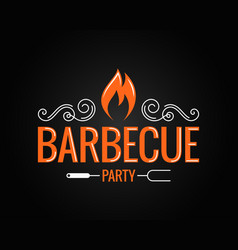 Barbecue party vintage logo on black background vector