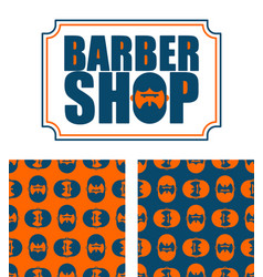 barber shop logo and pattern bearded ornament vector image