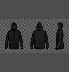 black sweatshirt with zipper hood and pockets vector image