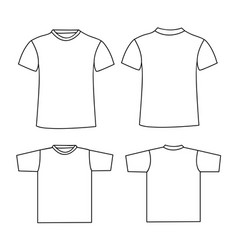 blank t-shirt template front and back vector image
