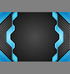 blue and black tech abstract corporate background vector image