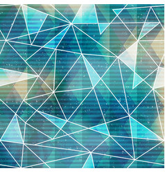 blue triangle seamless pattern with grunge effect vector image