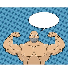 Bodybuilder with big muscles and bubble People in vector image