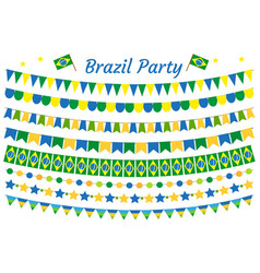 brazil garland set brazilian festive decorations vector image