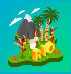 brazilian carnival isometric concept vector image