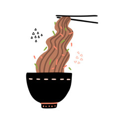 Buckwheat noodles in black bowl and chopsticks vector