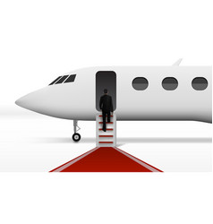 businessman boarding in executive airliner vector image