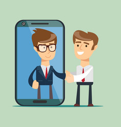 Businessman on the smartphone screen people shake vector