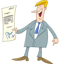 Businessman with contract cartoon vector