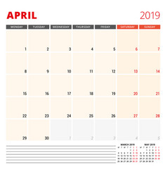 calendar planner template for april 2019 week vector image