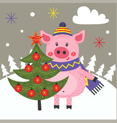 Card happy new year with pig and christmas tree vector