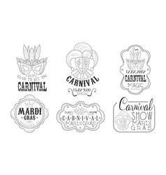 carnival mardi gras hand drawn retro labels set vector image
